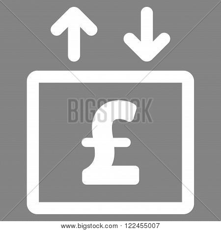 Pound Money Elevator vector icon. Pound Money Elevator icon symbol. Pound Money Elevator icon image. Pound Money Elevator icon picture. Pound Money Elevator pictogram. Flat pound money elevator icon.