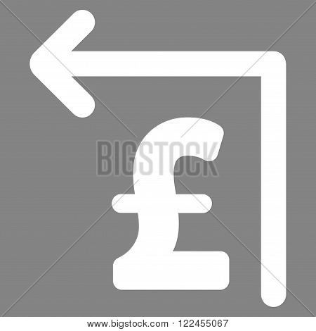 Pound Moneyback vector icon. Pound Moneyback icon symbol. Pound Moneyback icon image. Pound Moneyback icon picture. Pound Moneyback pictogram. Flat pound moneyback icon.