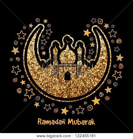 Creative crescent Moon with Mosque, Made by golden glitter on stars decorated background for Holy Month of Muslim Community, Ramadan Mubarak celebration.