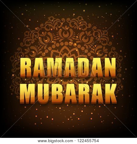 Glossy text Ramadan Mubarak on floral design decorated brown background for Islamic Holy Month celebration.