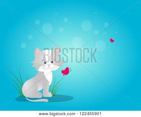 Illustration of cat sitting on blue background with butterflies
