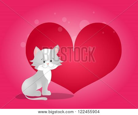Cute illustration of gray cat with big red heart on pink background