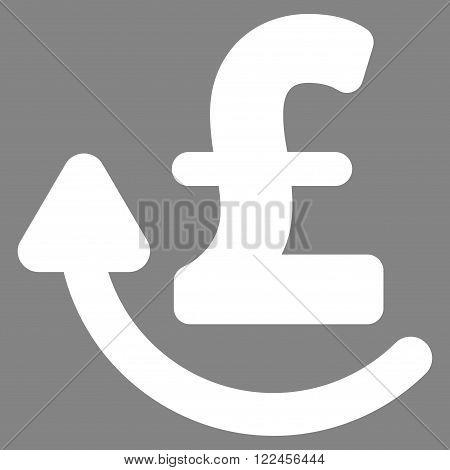Repay Pound vector icon. Repay Pound icon symbol. Repay Pound icon image. Repay Pound icon picture. Repay Pound pictogram. Flat repay pound icon. Isolated repay pound icon graphic.