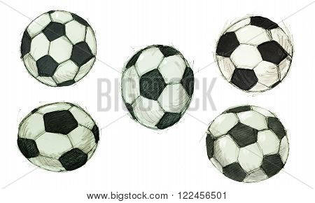 sketch illustration of a classic black and white Soccer ball with hexagon and pentagon pattern