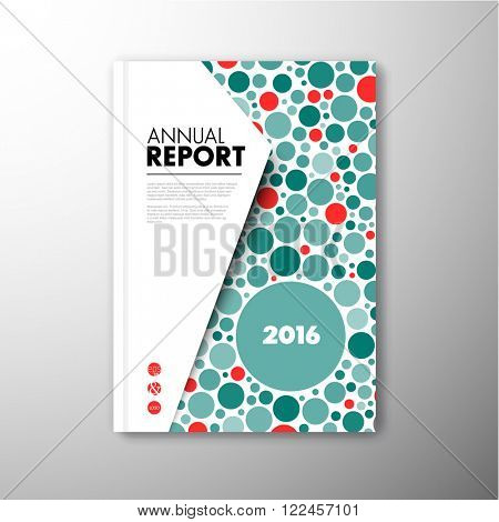 Modern Vector abstract brochure / book / flyer design template with teal and red circles