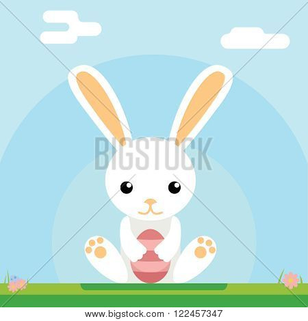 Easter bunny hold egg icon background template flat moble apps design vector illustration