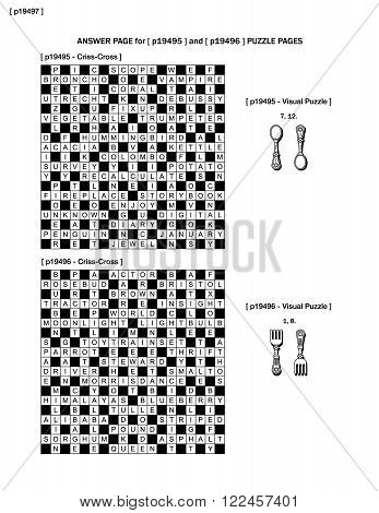 Answer page to previous two puzzle pages (p19495 and p19496) with criss-cross and visual puzzles.
