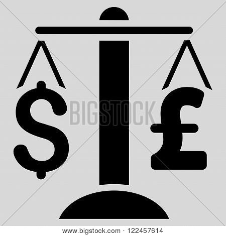 Dollar Pound Balance vector icon. Dollar Pound Balance icon symbol. Dollar Pound Balance icon image. Dollar Pound Balance icon picture. Dollar Pound Balance pictogram. Flat dollar pound balance icon.