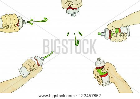 oil color paint tube squeezed on white background illustration set