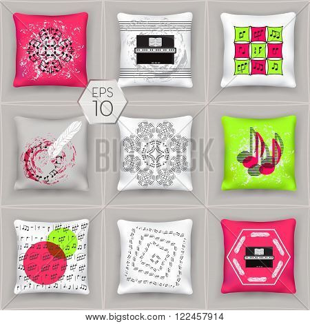 Set 3d pillows. Isolated elements of the interior bedroom. Music Collection. File EPS-10 is comfortable for editing.