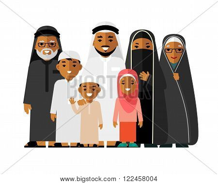 Arab people father, mother, son, daughter, grandmother and grandfather standing together in traditional islamic clothes