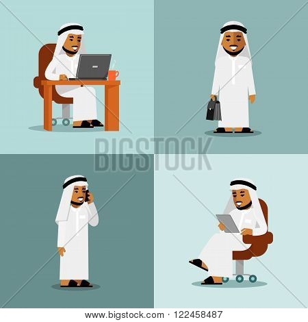 Young saudi arabic man in computer, tablet pc and smartphone business internet working