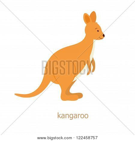 Kangaroo. Cartoon character. Australian endemic. Zoo illustration. The fauna of the Australian continent. Wild animal. Cute kangaroo. Symbol of country. Flat fanny wallaby
