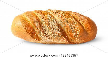 White long loaf with sesame seeds isolated on white background