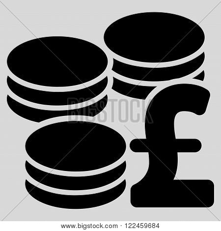 Pound Coins vector icon. Pound Coins icon symbol. Pound Coins icon image. Pound Coins icon picture. Pound Coins pictogram. Flat pound coins icon. Isolated pound coins icon graphic.