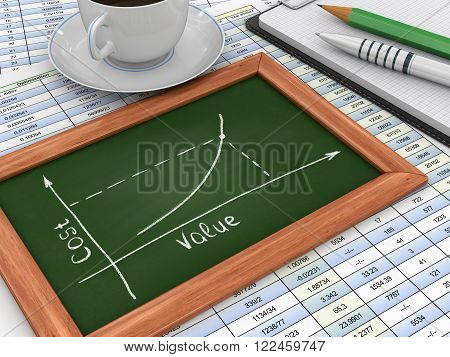 Image of Blackboard with Graph. Three-dimensional Shape