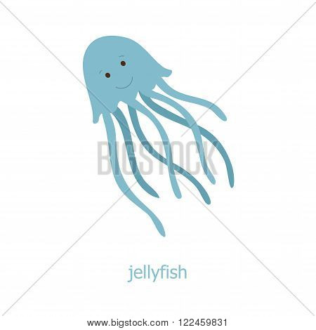 Jellyfish. Cartoon character. The sea jelly of the Australia. Wild animal. Cute jelly fish.  Marine life.