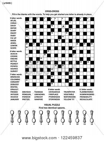 Puzzle page with two puzzles: big 19x19 criss-cross word game (English language) and small visual puzzle with spoons. Black and white, A4 or letter sized. Answers are on separate file named p19497.