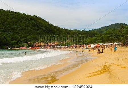 PARATY RIO DE JANEIRO BRAZIL - DEC 12 2015: Beach of Paraty. Paraty is a colonial and historic city in Rio de Janeiro.
