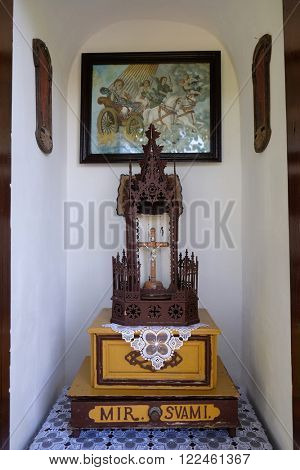 STITAR, CROATIA - AUGUST 27: The altar in the old chapel in the village Stitar, Croatia on August 27, 2015