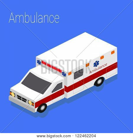 Flat 3d isometric style ambulance emergency medical evacuation accident concept web infographics vector illustration.