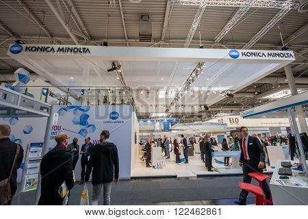 HANNOVER GERMANY - MARCH 14 2016: Booth of Konica Minolta company at CeBIT information technology trade show in Hannover Germany on March 14 2016.