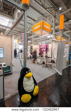 HANNOVER GERMANY - MARCH 14 2016: Booth of Open Source Park at CeBIT information technology trade show in Hannover Germany on March 14 2016.