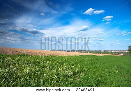 the spring landscape with the city and a field