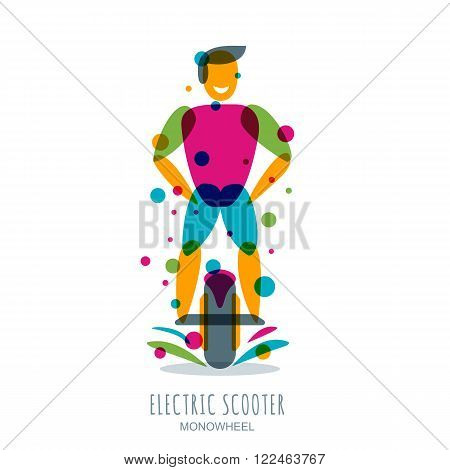 Young Man On Electric Scooter Mono Wheel.