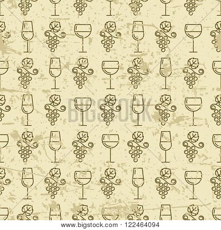 Vector Seamless Vintage Pattern With Outline Vine Grape And Wine Glass.