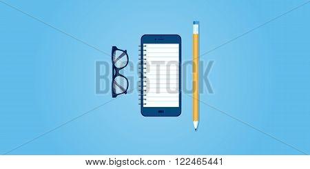 Flat line design website banner of mobile reminder, organizer, to do list, memo app. Modern vector illustration for web design, marketing and print material.