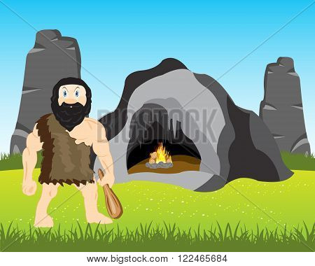 The Cave person with club beside its cave. Vector illustration