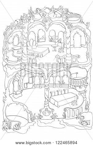 Vector colouring illustration of mermaid house with a bedroom, dressing room and ballroom