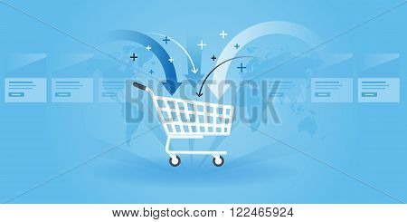 Flat line design website banner of shopping, product order, add to cart. Modern vector illustration for web design, marketing and print material.