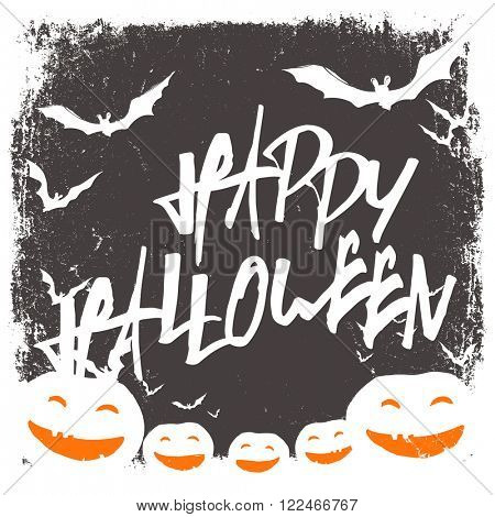 Halloween themed background with hand drawn lettering and bats silhouettes and scary pumpkins faces. Raster version.