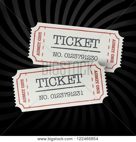 Two old-fashioned cinema tickets on dark sunburst monochrome background. Raster version.