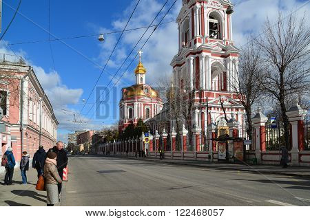 Moscow, Russia - March 14, 2016. Temple of the Great Martyr Nikita on a Staraya Basmannaya Street,