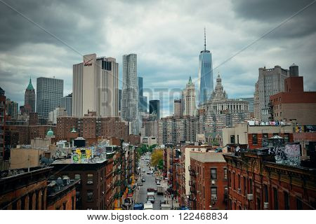 NEW YORK CITY - AUG 15: Chinatown street view August 15, 2014 in Manhattan, New York City. It is one of the largest and oldest ethnic Chinese communities outside of Asia with population 100k