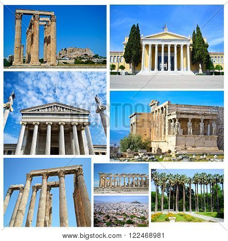 collage of Athens Greece - ancient landmarks of Athens Greece
