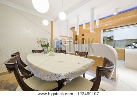 Dining area in modern apartment in luxury apartment