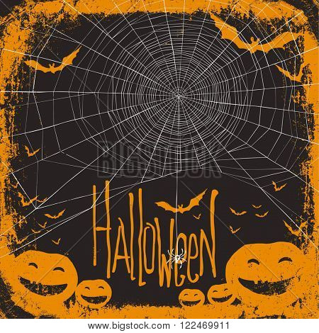 Halloween themed background with spider web. Raster version