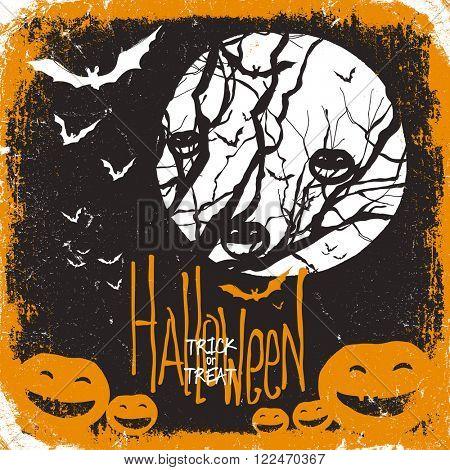 Halloween vector illustration. Dry tree, full moon and pumpkins and bats. Raster version