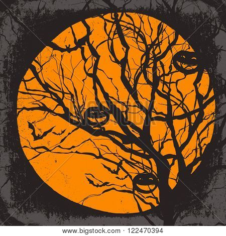 Halloween vector background. Dry tree and pumpkins. Full moon and bats. Raster version