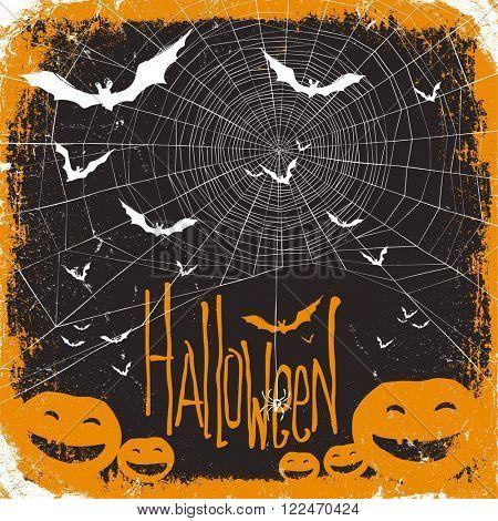 Halloween. Raster version. Spider web, pumpkins and bats