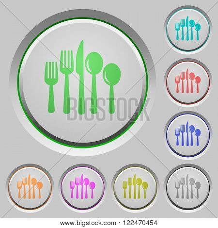Set of color cutlery sunk push buttons.