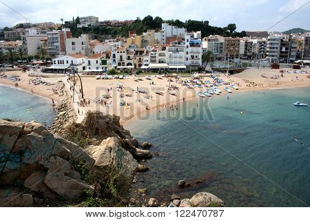Beach Blanes view, Costa Brava, Catalonia, Spain. Blanes is a town in Catalonia and most popular holiday resorts on the Costa Brava