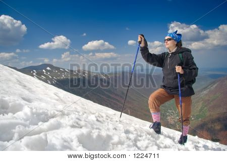 Hiking Girl On An Expedition