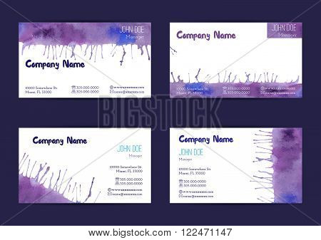 Set of hand painted watercolor horizontal business card templates. Colorful bright abstract blue and violet brush stocks and splashes on a white background. Complied with the standard size.