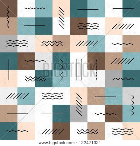 Geometric lines and squares seamless pattern. Retro colors. Textured layers easy editable. Raster version