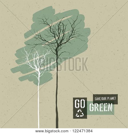 Save Nature Concept Illustration. Trees on Cardboard Realistic Background. Go Green Headline with Reuse Symbol. . Raster version